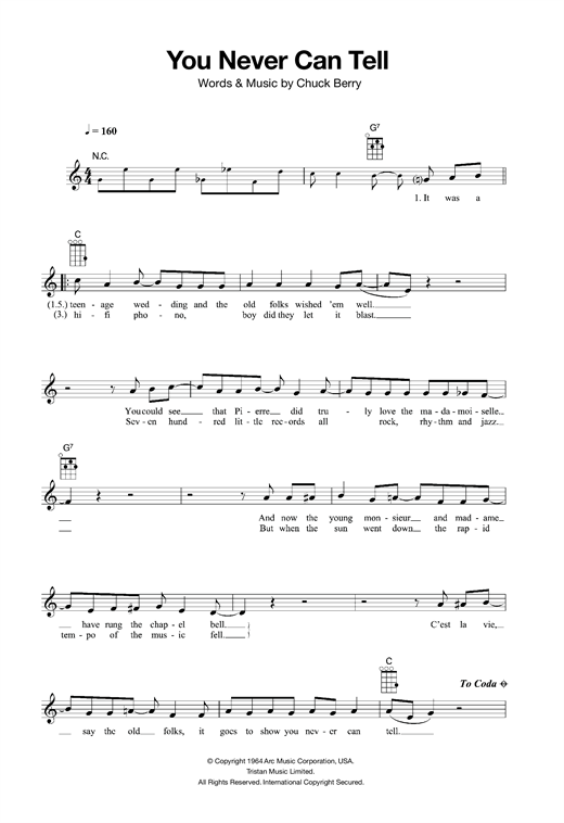 Tablature guitare You Never Can Tell de Chuck Berry - Ukulele