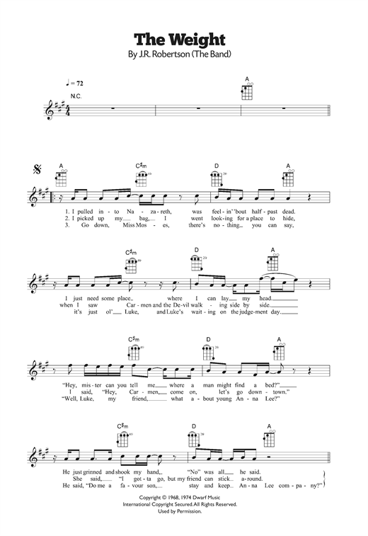 Tablature guitare The Weight de The Band - Ukulele