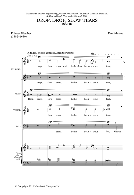 Drop, Drop Slow Tears Sheet Music