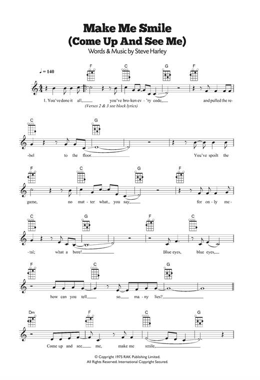 Make Me Smile (Come Up And See Me) Sheet Music