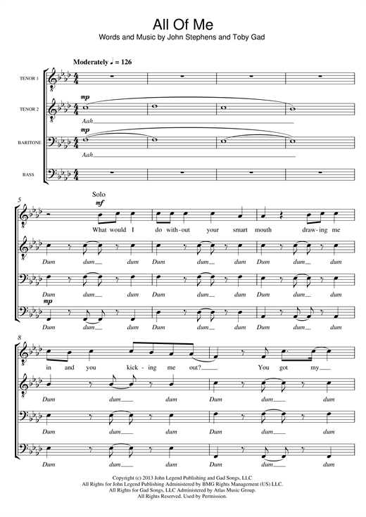 All Of Me (arr. Sam Harrop) Sheet Music