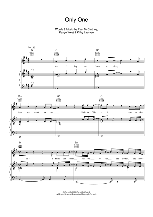 Only One (feat. Paul McCartney) sheet music by Kanye West (Piano, Vocal u0026 Guitar (Right-Hand ...