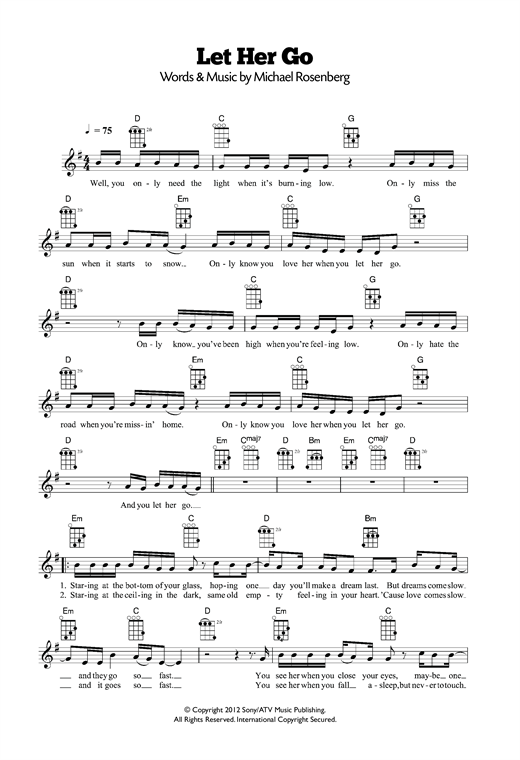 Guitar guitar chords of let her go : Let Her Go sheet music by Passenger (Ukulele – 120355)