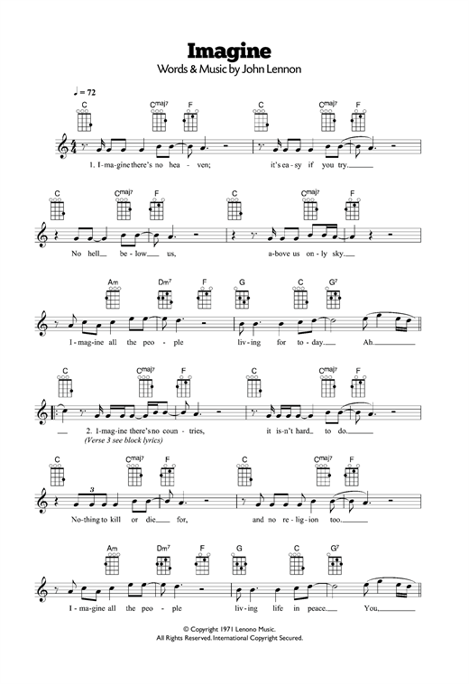 Tablature guitare Imagine de John Lennon - Ukulele