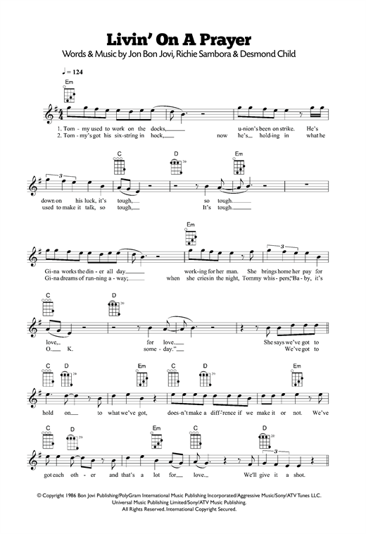 Tablature guitare Livin' On A Prayer de Bon Jovi - Ukulele