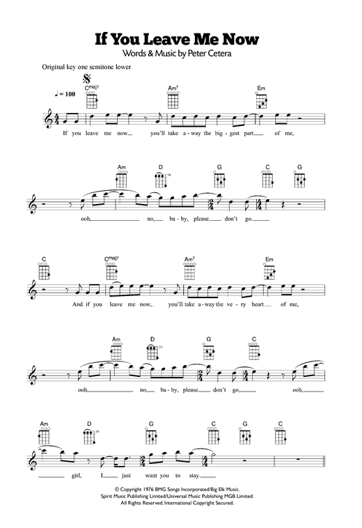 Tablature guitare If You Leave Me Now de Chicago - Ukulele