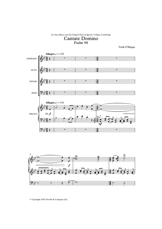 Cantate Domino Sheet Music