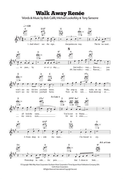 Walk Away, Renee Sheet Music