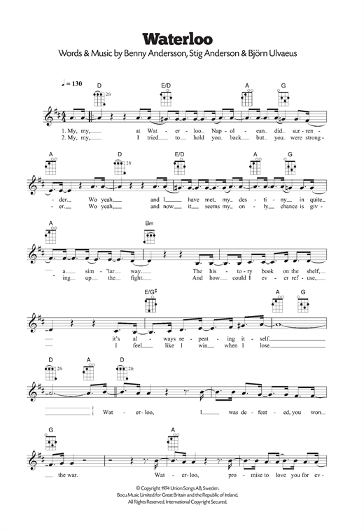 Tablature guitare Waterloo de ABBA - Ukulele