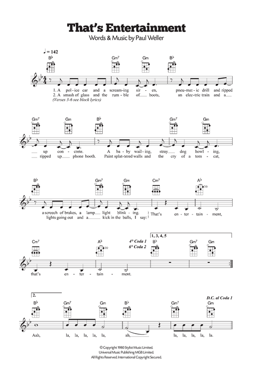 Tablature guitare That's Entertainment de The Jam - Ukulele