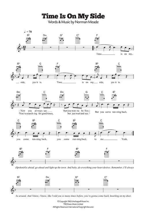 Tablature guitare Time Is On My Side de The Rolling Stones - Ukulele