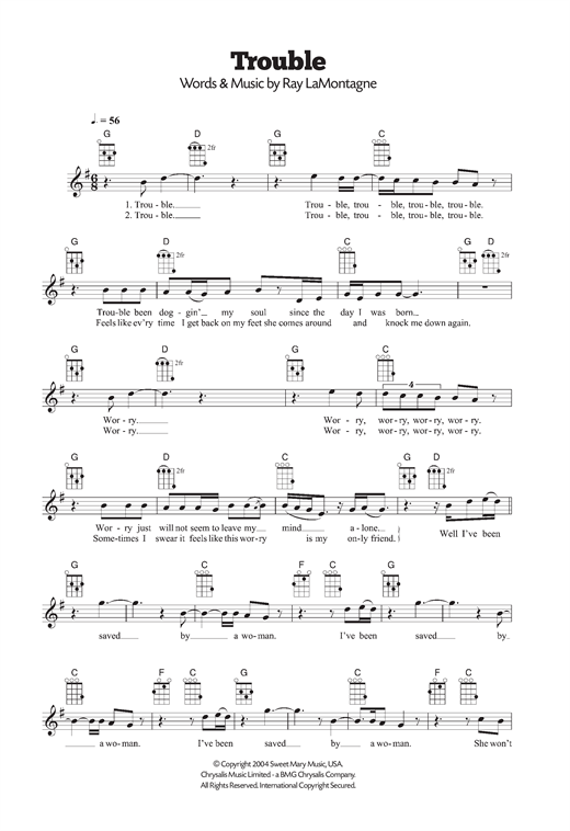 Tablature guitare Trouble de Ray LaMontagne - Ukulele