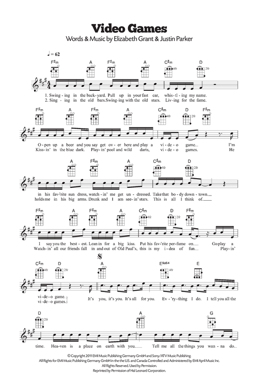 Video Games Sheet Music