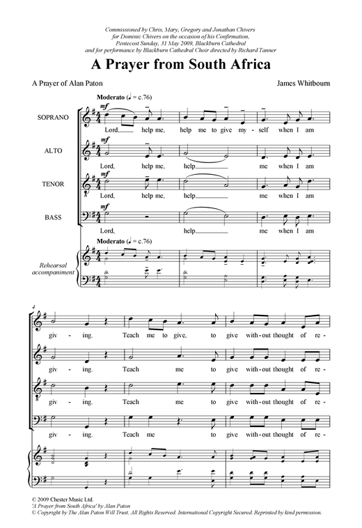 A Prayer From South Africa Sheet Music