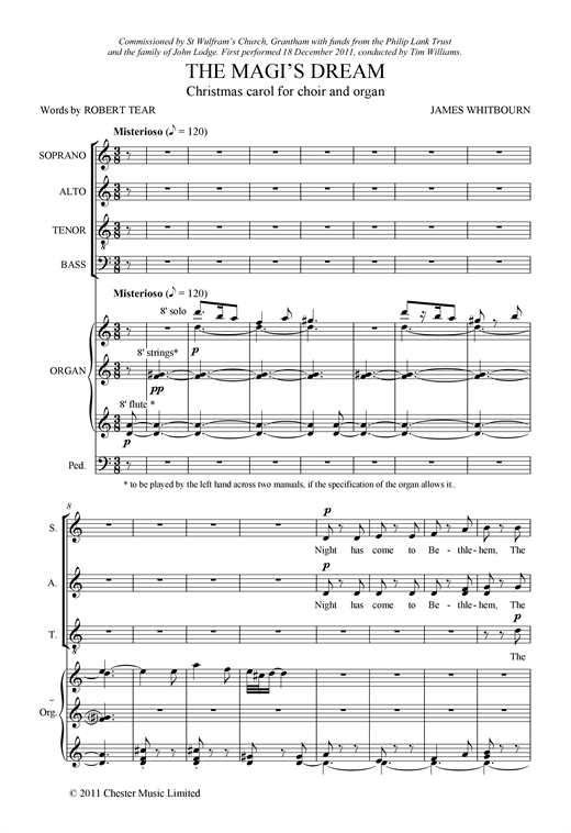 Partition chorale The Magi's Dream de James Whitbourn - SATB