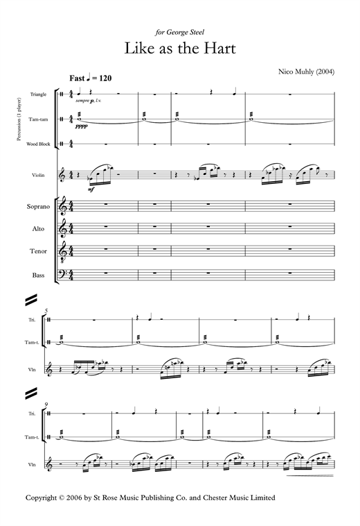 Partition chorale Like As The Hart de Nico Muhly - SATB