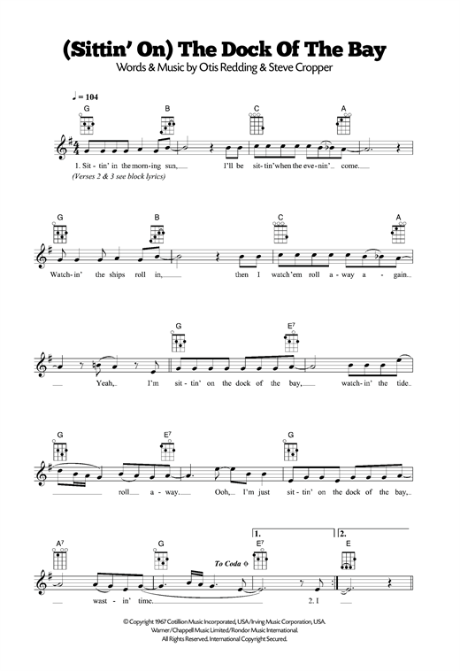 Tablature guitare (Sittin' On) The Dock Of The Bay de Otis Redding - Ukulele