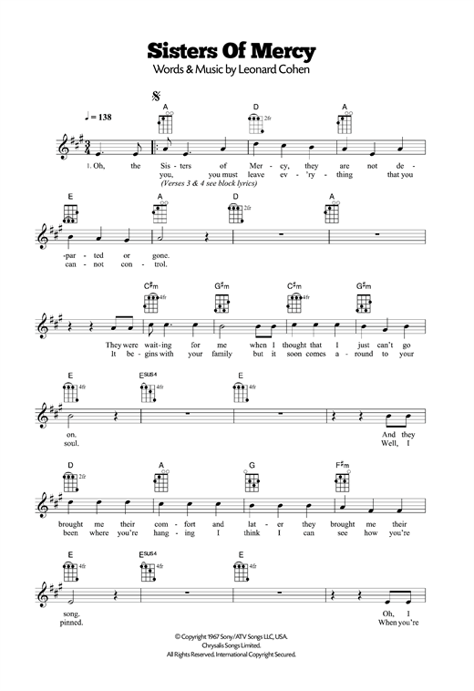 Sisters Of Mercy sheet music by Leonard Cohen (Ukulele – 120463)