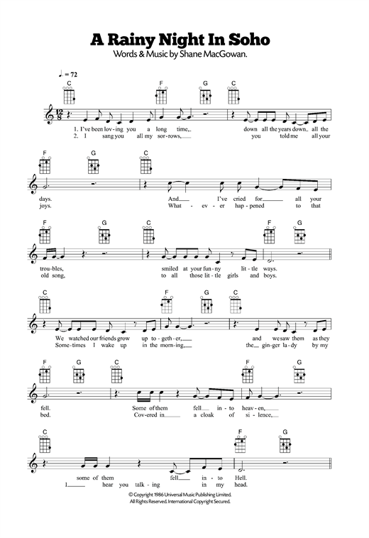 Tablature guitare A Rainy Night In Soho de The Pogues - Ukulele