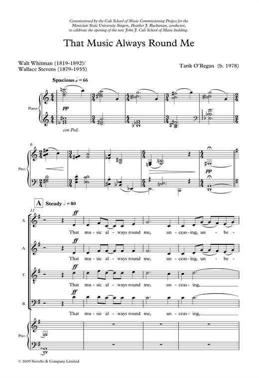 Partition chorale That Music Always Round Me de Tarik O'Regan - SATB
