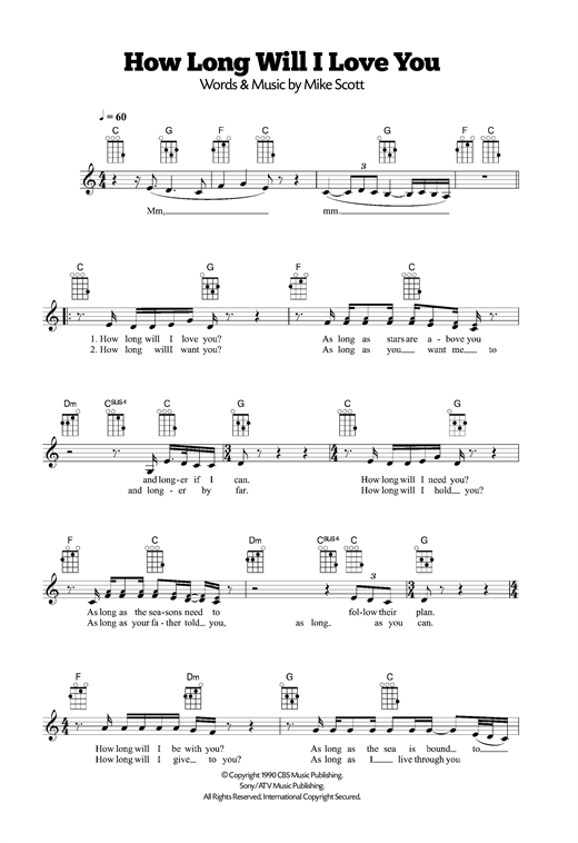 Tablature guitare How Long Will I Love You de Ellie Goulding - Ukulele