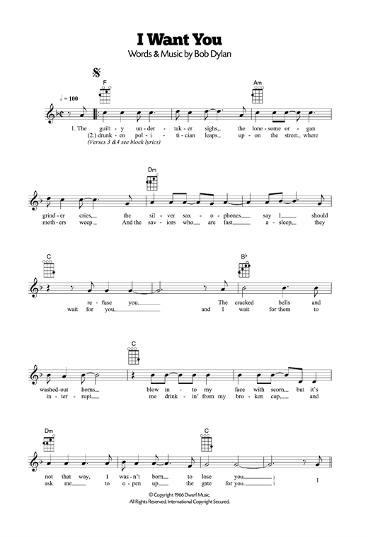 Tablature guitare I Want You de Bob Dylan - Ukulele
