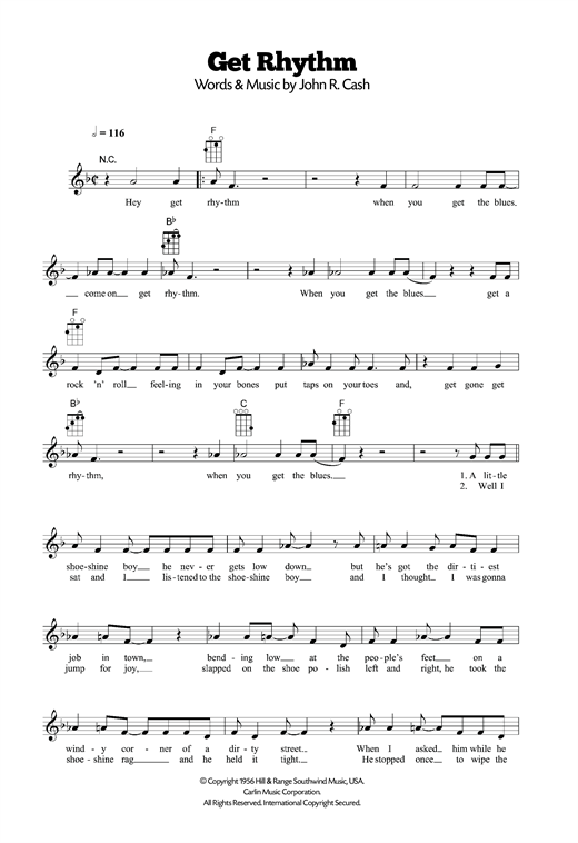 Tablature guitare Get Rhythm de Johnny Cash - Ukulele
