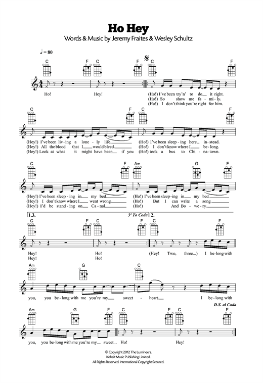 Ho Hey Sheet Music By The Lumineers Ukulele 120507