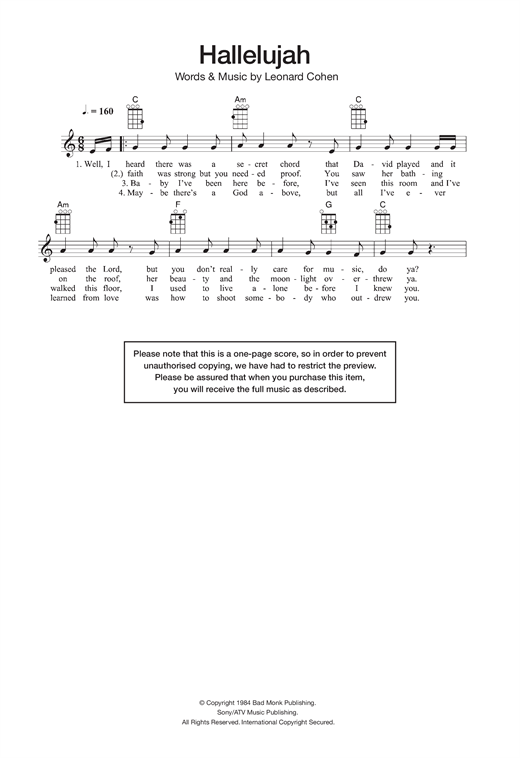Hallelujah Guitar Tab By Jeff Buckley Ukulele