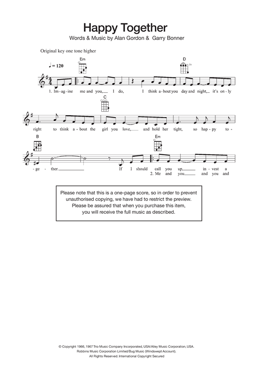 Tablature guitare Happy Together de The Turtles - Ukulele