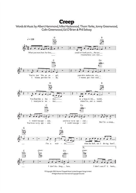 Creep sheet music by Radiohead (Ukulele u2013 120512)