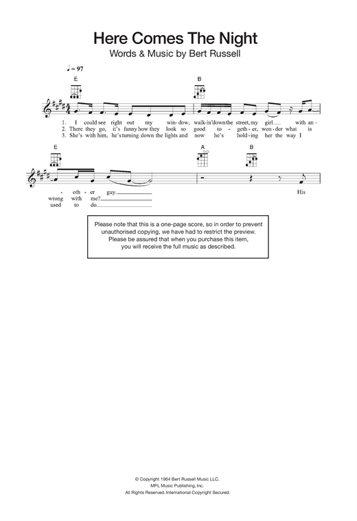 Tablature guitare Here Comes The Night de Them - Ukulele