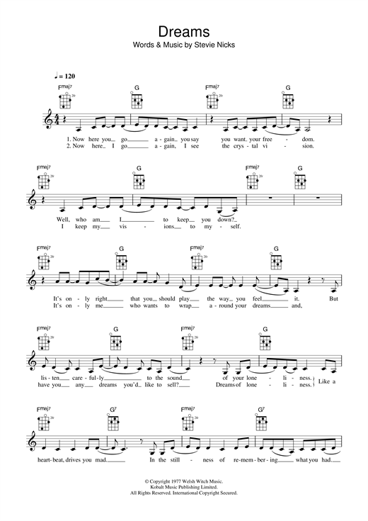 Tablature guitare Dreams de Fleetwood Mac - Ukulele