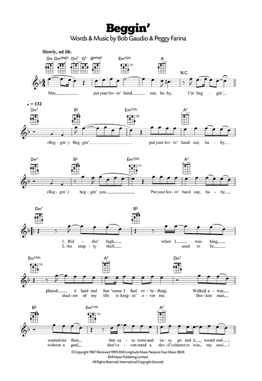 Beggin' Sheet Music