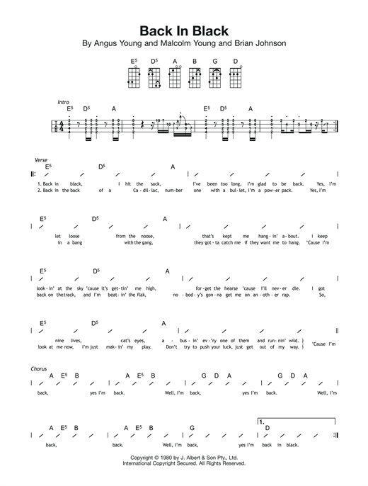 Tablature guitare Back In Black de AC/DC - Ukulele (strumming patterns)