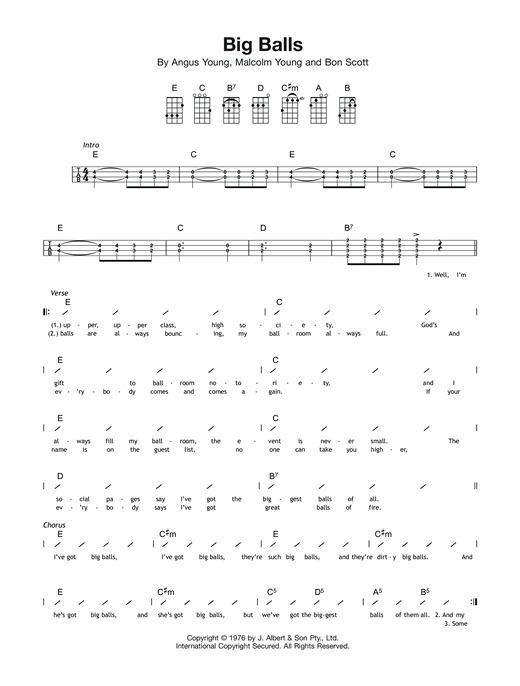 Tablature guitare Big Balls de AC/DC - Ukulele (strumming patterns)