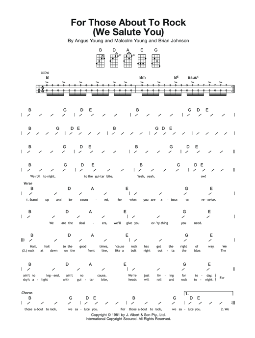 Tablature guitare For Those About To Rock (We Salute You) de AC/DC - Ukulele (strumming patterns)