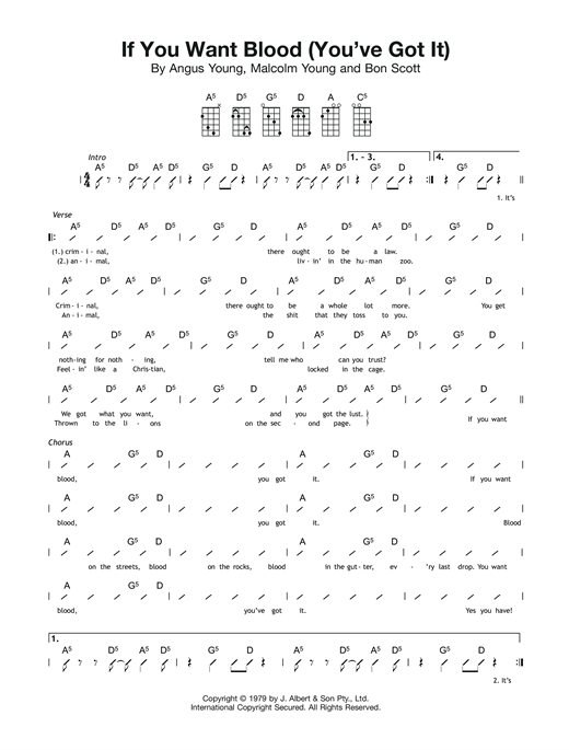 Tablature guitare If You Want Blood (You've Got It) de AC/DC - Ukulele (strumming patterns)
