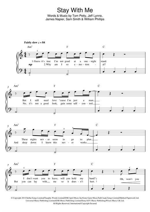 Stay With Me Sheet Music