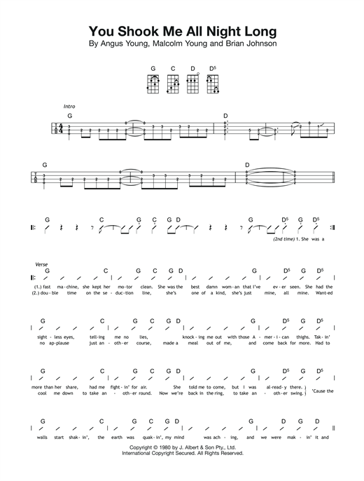 Tablature guitare You Shook Me All Night Long de AC/DC - Ukulele (strumming patterns)