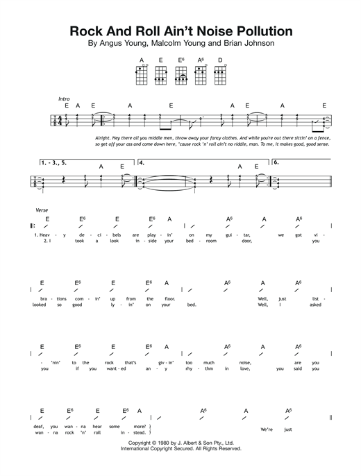 Tablature guitare Rock And Roll Ain't Noise Pollution de AC/DC - Ukulele (strumming patterns)