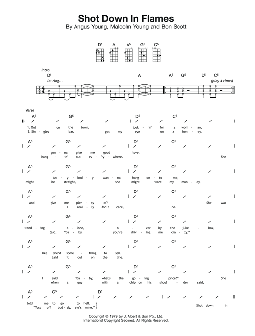 Tablature guitare Shot Down In Flames de AC/DC - Ukulele (strumming patterns)