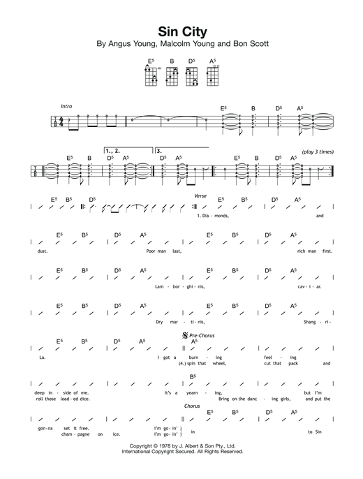 Sin City Sheet Music