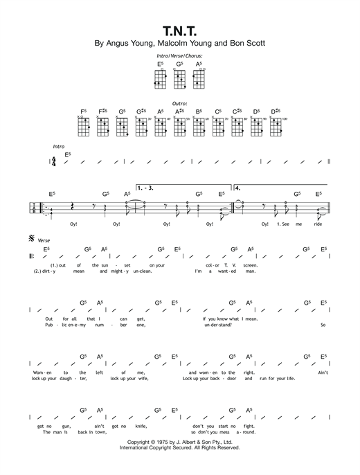 Tablature guitare T.N.T. de AC/DC - Ukulele (strumming patterns)