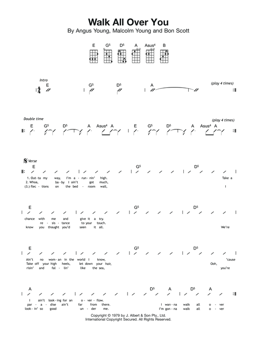 Tablature guitare Walk All Over You de AC/DC - Ukulele (strumming patterns)