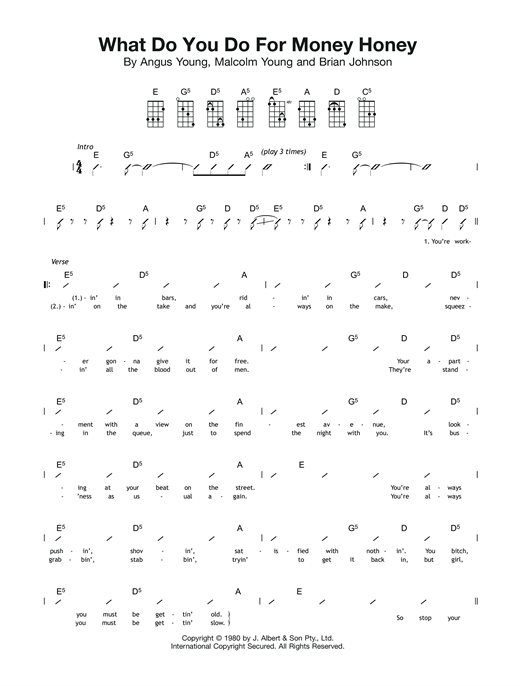 Tablature guitare What Do You Do For Money, Honey? de AC/DC - Ukulele (strumming patterns)