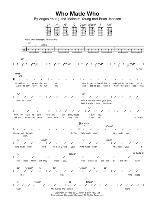 Tablature guitare Who Made Who de AC/DC - Ukulele (strumming patterns)