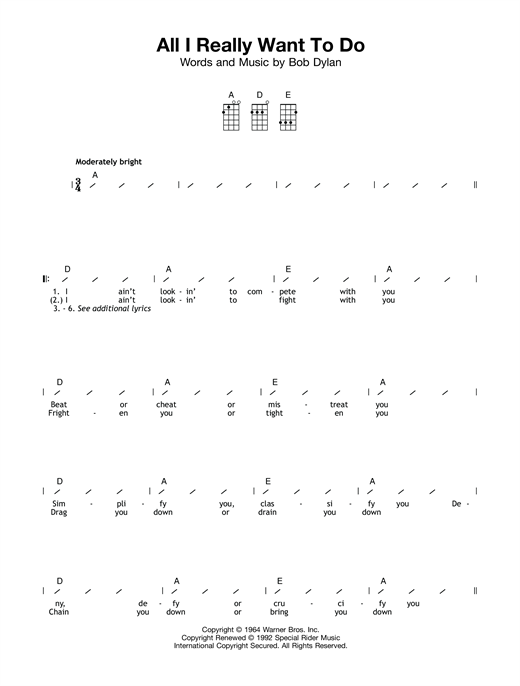 Tablature guitare All I Really Want To Do de Bob Dylan - Ukulele (strumming patterns)