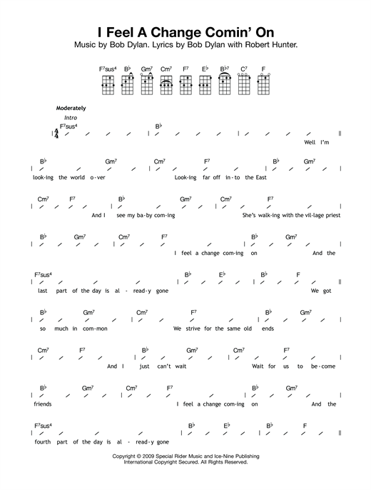 Tablature guitare I Feel A Change Comin' On de Bob Dylan - Ukulele (strumming patterns)