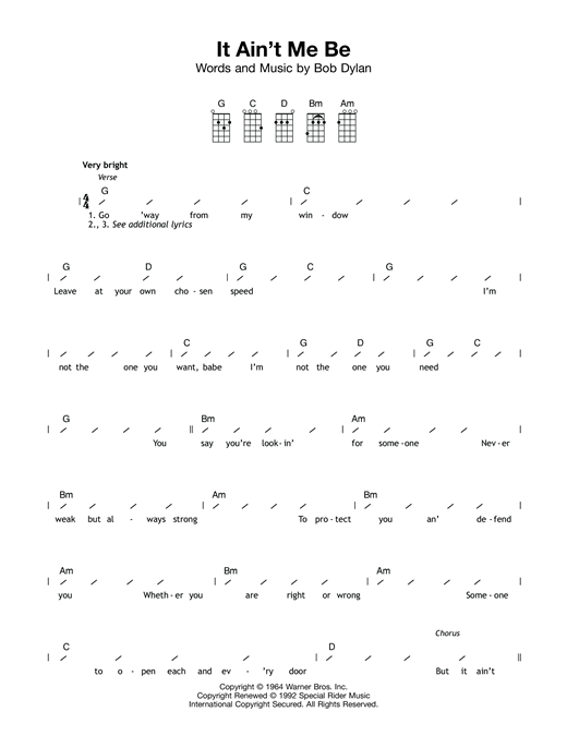Tablature guitare It Ain't Me Babe de Bob Dylan - Ukulele (strumming patterns)